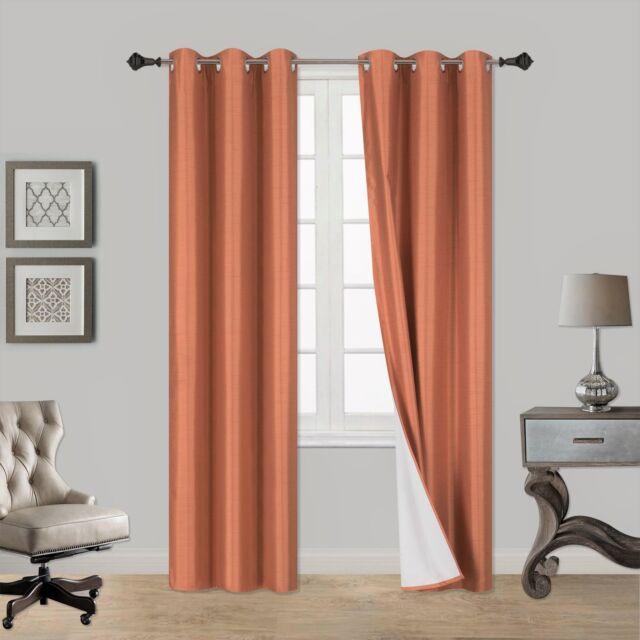 2PC TURQUOISE NOA Foam Lined Heavy Thick Blackout Grommet Window Curtain Panels