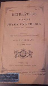 Rivista Beiblatter N° 3 Zu Den Annalen Der Physik Und Chemie 1892 Lipsia Verlag