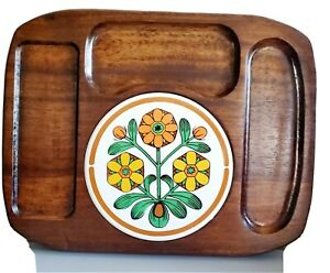 Vtg Mid-Century Modern Himark Cheese Board Platter Japan Wood Tile Floral Retro