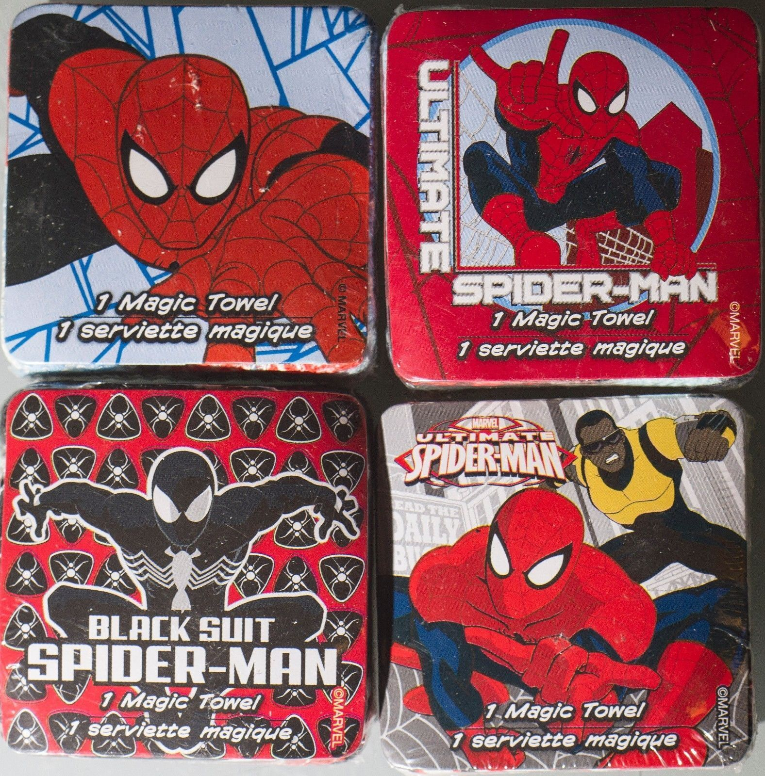 Lot of (4) Spider-Man Magic Towels Cotton Wash Cloths, Designs Vary Marvel Comic