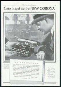 1923 Corona typewriter photo vintage print ad