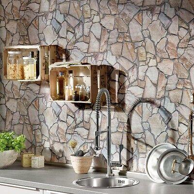 Rustic Mosaic Stone Grey Brown Beige Realistic Impressions Wallpaper -10M Roll