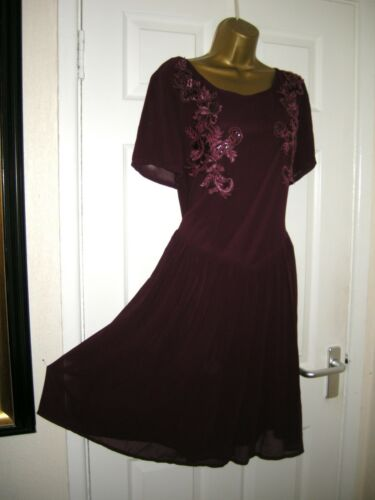 Drop 80's Purple 18 Koko Embellished 70's Chiffon Waist Midi Dress Party Retro ZZTwvr6