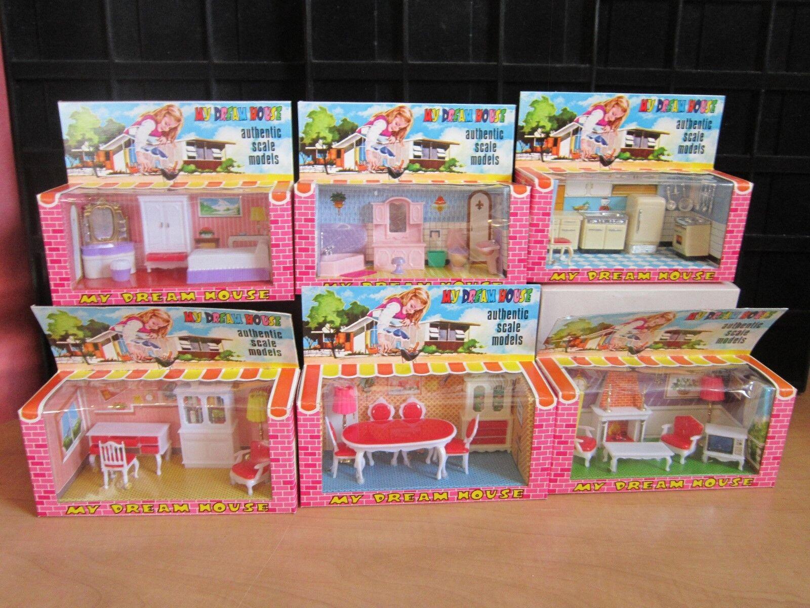 RARE  Vintage  New Complete Set 6 Boxes 1 12 Dollhouse Mini Furniture 38 pcs.