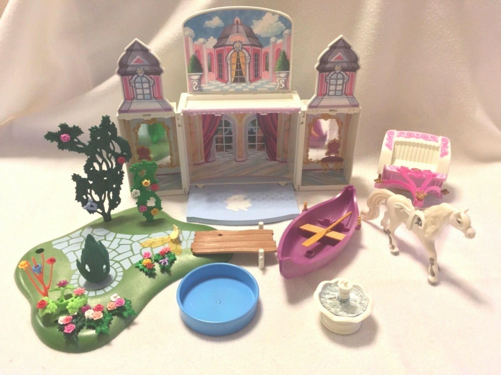 155 Items Playmobil Lot - Princess Castle Royal Fantasy Boat Fountain Unicorn