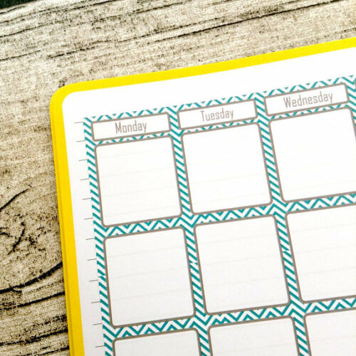 Month at a glance Mint chevron pain two page Bullet calendar #1008