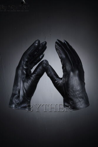 ByTheR Men/'s Solid Chic Classy Gothic Black Leather Military Officer Gloves CA
