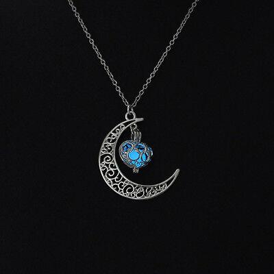 Popular Fun Flower Heart Locket Glow In The Dark Pendant luminous Necklace Gift