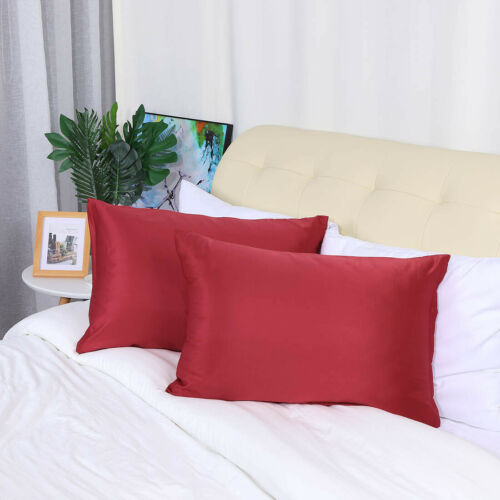 Silky Satin Pillowcases Pillow Covers 17 Colors Travel//Standard//Queen//King 4pcs