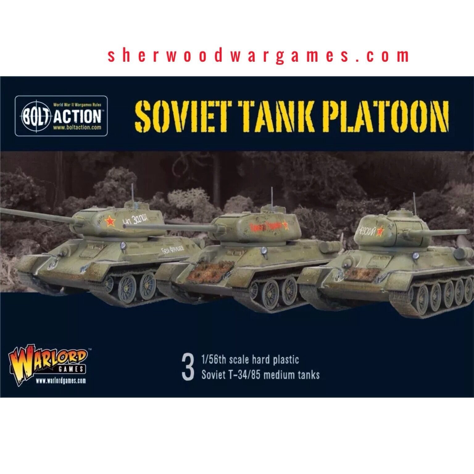 28mm Warlord Games Bolt Action Russian T34 85 Medium Tank Platoon WWII BNIB