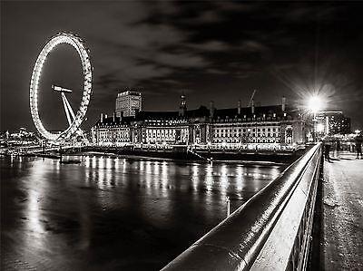 CULTURAL LANDSCAPE LONDON EYE FERRIS BLACK WHITE POSTER ART PRINT PICTURE BB798A