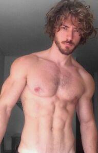 Shirtless Male Muscular Beefcake Hairy Chest Beard Eye Candy Guy ...