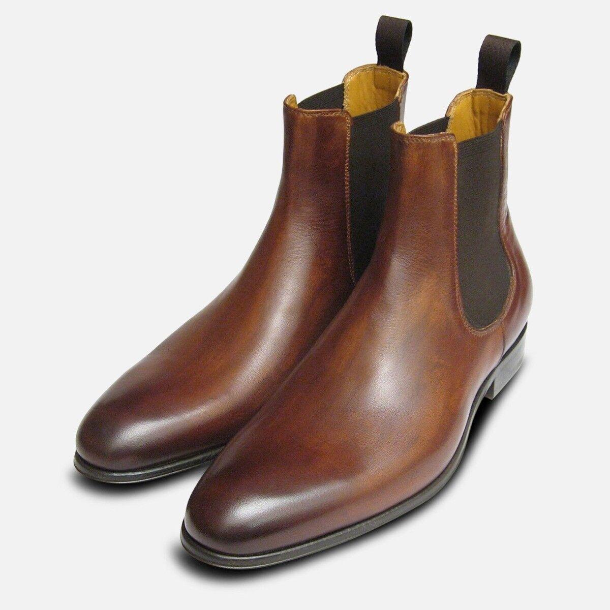 Antico Tan Marronee Stivali chelsea da uomo