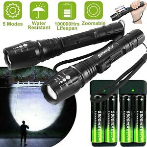 350000LM-Zoomable-T6-LED-Rechargeable-Torch-Flashlight-Work-Light-Headlamp-Camp