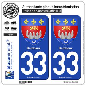 Bien Informé 2 Sticker Autocollant Plaque D'immatriculation | 33 Bordeaux - Armoiries | 33000 Large SéLection;