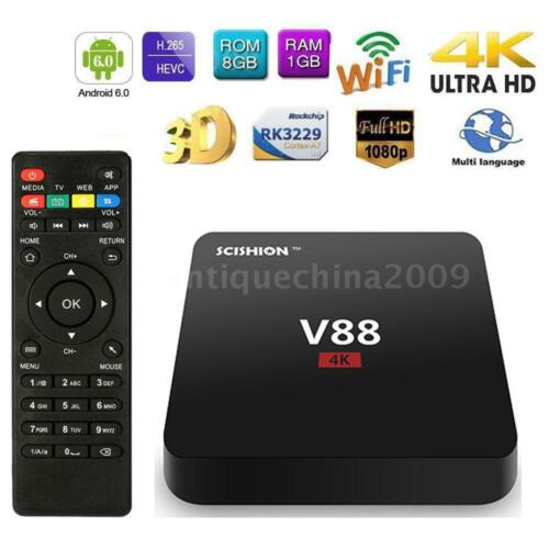 V88 Android 7.1 Smart TV BOX 4K Latest RK3229 Quad Core 1G 8G H.265 WIFI Media