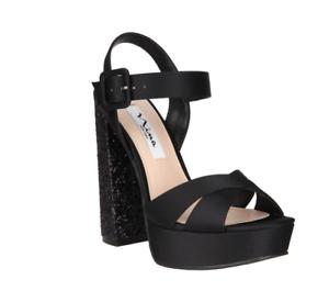 68f3397bc6 NIB - Nina Savita Glitter Heel Satin Platform Shoes, Black - Size 7 ...