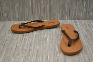 Flojos-Noelle-Braided-Flip-Flop-Sandal-Women-039-s-Size-10-Brown