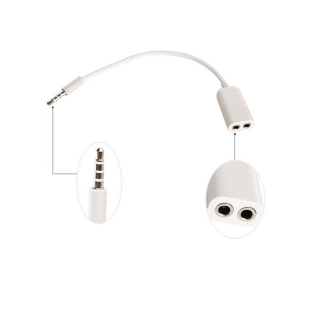 3.5mm Double Jack Headphone Earphone Splitter Audio Cable for iPod  iPhone 4 4S