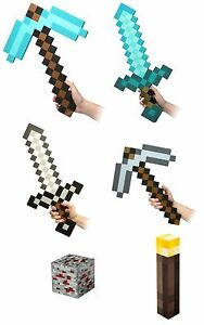 Minecraft-Foam-Sword-Pickaxe-Red-Ore-Wall-Torch-ThinkGeek-Sold-Separately
