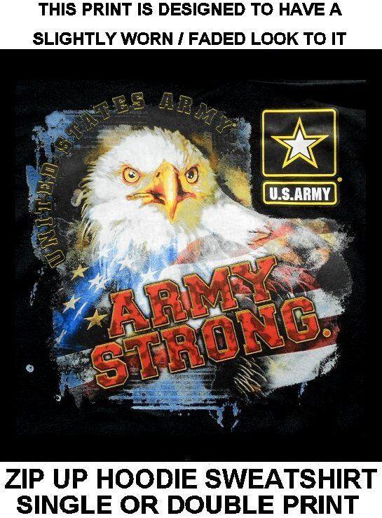 AMERICAN PRIDE UNITED STATES ARMY STRONG EAGLE FLAG ZIP HOODIE SWEATSHIRT WS611