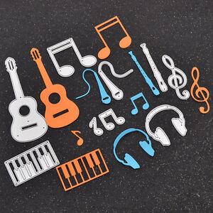 Stanzschablone-Musik-Instrumente-Fluete-Geige-Note-Konzert-Scrapbook-Basteln-DIY