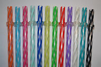 12 - 11 Reusable Straws Clear Swirly Colored Plastic Acrylic Rings Bpa Free 7
