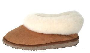 chaussons fourrés hommes ou femmes - camel - pantoufles peau de ... 79d0763022c