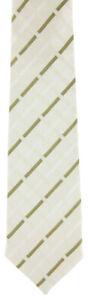 New-Luigi-Borrelli-White-Cream-Green-Pattern-Tie-3-75-034-Wide