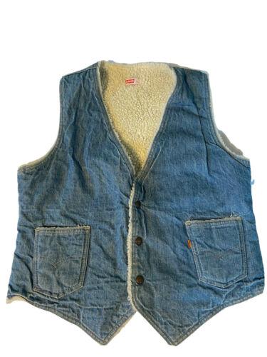Vintage Levis 70's Sherpa Lined Denim Vest Size La