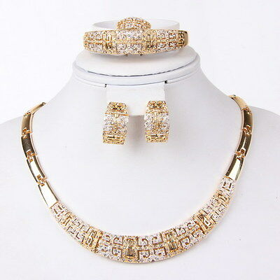 Fashion Gold Plated Necklace Bracelet Earrings Ring Crystal Jewelry Set