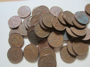 Roll-of-1968-Canada-Small-Cents-AU-UNC-RED-50-1-Penny-Canadian-Coins-R118