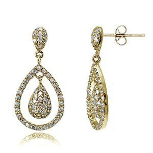Gold-Tone-over-Sterling-Silver-Cubic-Zirconia-Double-Teardrop-Dangle-Earrings