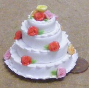 1-12-Scale-Wedding-Cake-With-White-Icing-amp-Multi-Coloured-Roses-Dolls-House-C