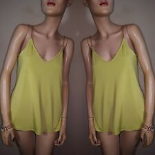 Atmosphere Chartreuse Lime Green Bright Neon Gold Chain Strap Loose Vest Top 10