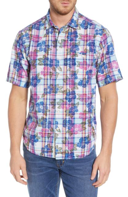 Tommy Bahama Paniolo Plaid Blue Corduroy Cotton Men/'s L//S Shirt 2XB NWT $150