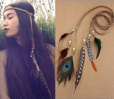 Hippie Peacock Feather Headband Hair Band Rope Headpiece Waistband Party Focus