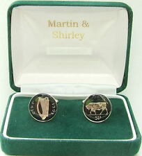 1993 IRELAND cufflinks made from OLD IRISH 5p COINS in black & Silver