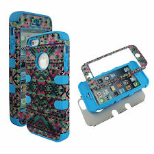 Hybrid Bue Pink Tribal 3 in 1 Apple Iphone 5 Cover Case Hard & Soft Outer