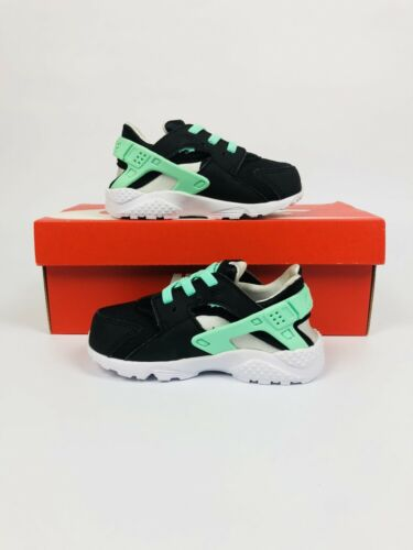 TODDLER NIKE HUARACHE RUN BLACK//GREEN GLOW//PURE PLATINUM 704952-008