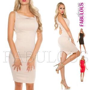 Sexy-Sleeveless-Knee-Length-Pencil-Dress-Party-Evening-Summer-Work-Wear-Size-8-S