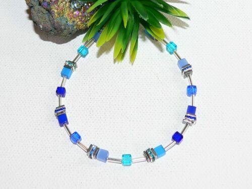 Pulsera perlas cubo Cat Eye vaso de cristal facetado azul pedrería 502.