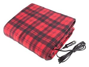 NEW LARGE 12V HEATED CAR VAN TRAVEL ELECTRIC BLANKET WARM FLEECE CUDDLE RUG 5038673881522