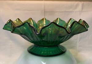 Fenton Carnival Glass Green Iridescent Ruffled Bowl(Hearts And Flowers.)