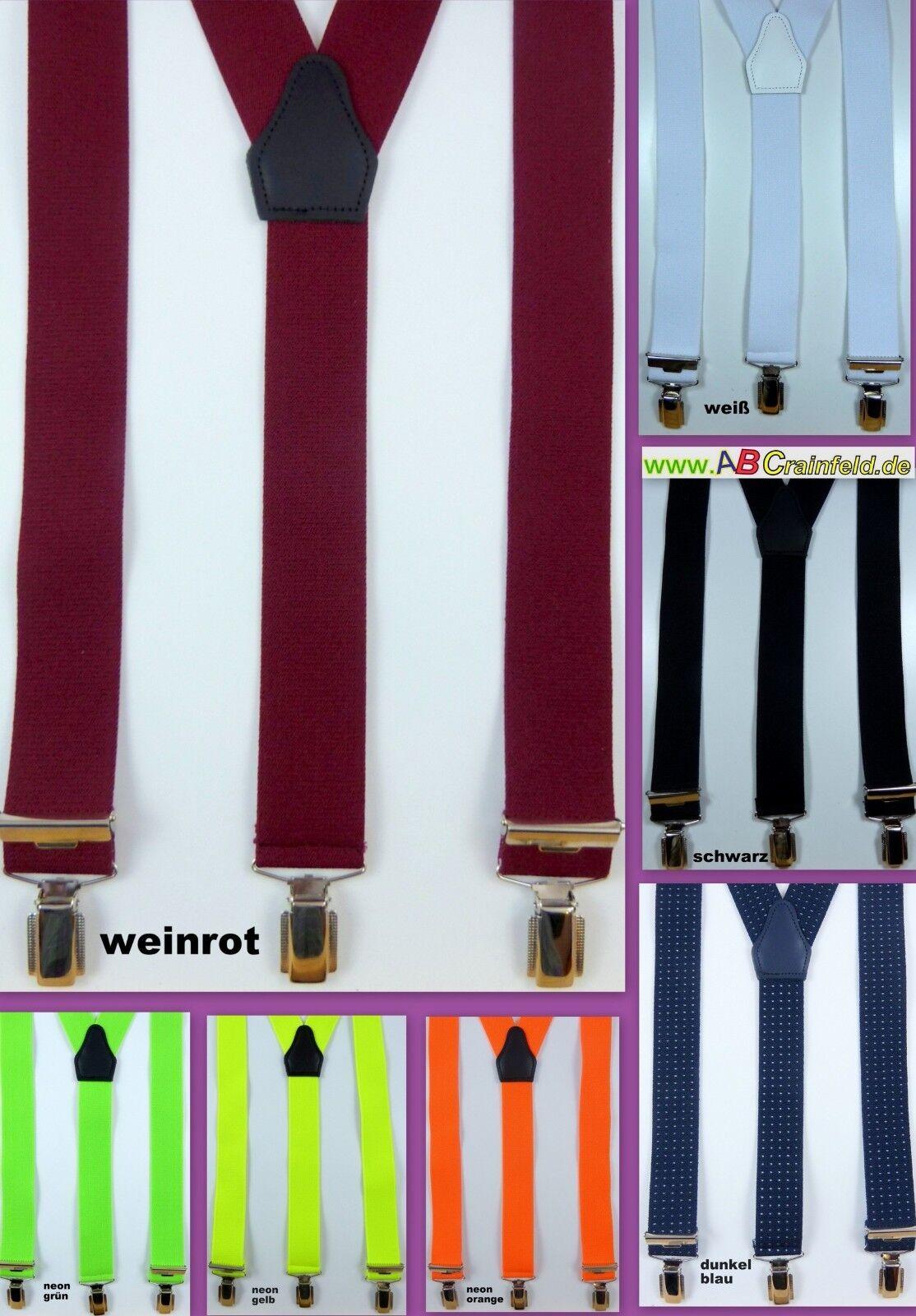 Hosenträger mit drei starken Klips in vielen Farben, 35 mm breit, Y-Hosenträger
