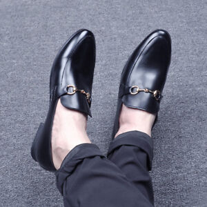 Mens-Flats-Mules-Slipper-Fashion-Slip-on-Casual-Formal-Dress-Leather-Shoes-size