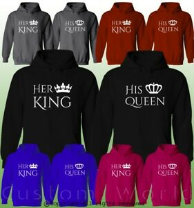 01b5cff72a Her King His Queen Couple Hoodies His And Hers New Color Matching ...