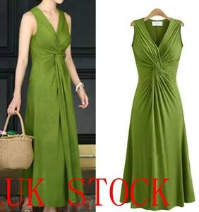 UK-lady-Long-V-neck-Evening-Formal-Party-Ball-Gown-Prom-Pleated-Dress-Size-8-20