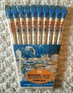 1964-65-New-York-World-039-s-Fair-Official-Pencils-in-Original-Packaging