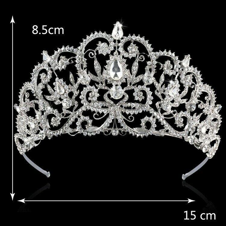 Silver CZ Crystal Bridal Wedding Tiara Crown Swarovski Crystal Crown